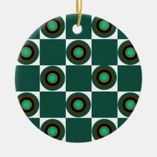 Groovy Green Orbs Round Ceramic Ornament