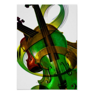 Groovy, Green Violin Poster