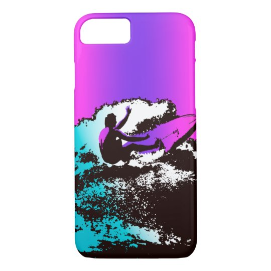 Groovy Hawaiian Surfer 1960's Retro - Violet iPhone 8/7 Case