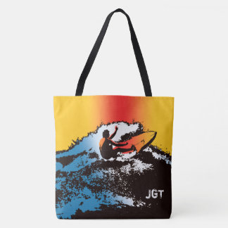 Groovy Hawaiian Surfer 60s Retro MonogramBeach Bag