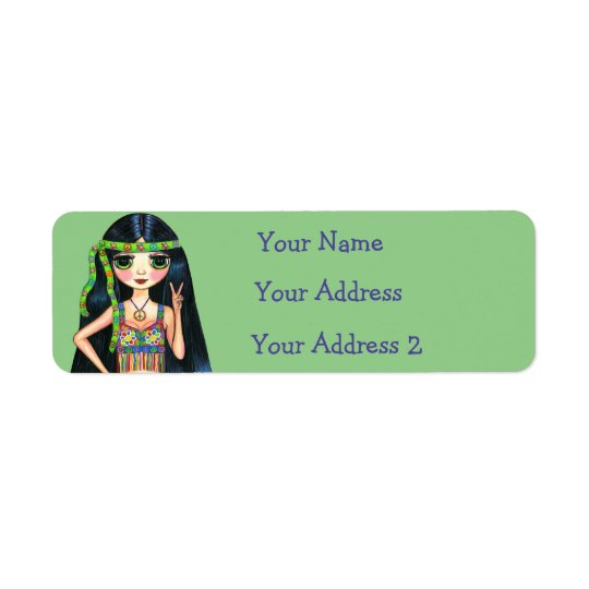 Groovy Hippie Chick Psychedelic Peace Sign 1960s Return Address Label