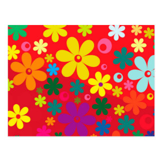 Groovy Hippie Colorful Flowers Love Peace Pattern Postcard