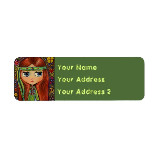 Groovy Hippie Girl in Green Peace Sign Cute Return Address Label