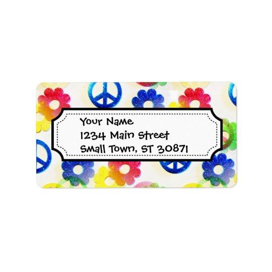 Groovy Hippie Peace Signs Flower Power Sparkle