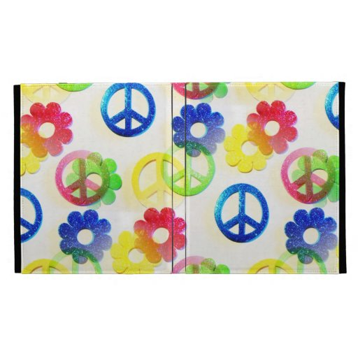 Groovy Hippie Peace Signs Flower Power Sparkle iPad Folio Covers