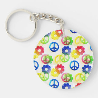 Groovy Hippie Peace Signs Flower Power Sparkle Keychain