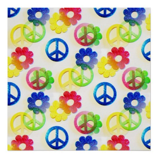 Groovy Hippie Peace Signs Flower Power Sparkle Poster