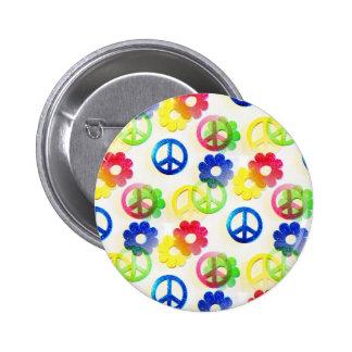 Groovy Hippie Peace Signs Flower Power Sparkles 2 Inch Round Button