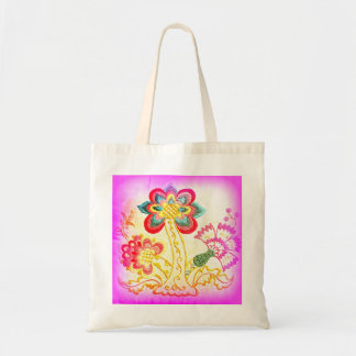 groovy hippie pink palm tree tote bag