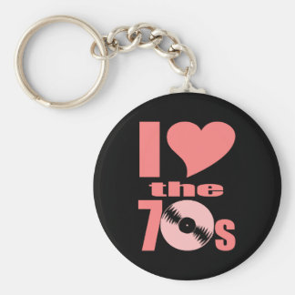 Groovy I Heart the 70s Retro Keychain for Hippies