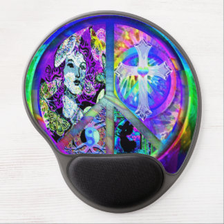 Groovy Looking Peace Symbol Collage Gel Mouse Pads