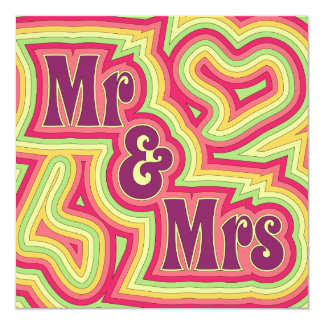 Groovy Mr & Mrs Invitation/Announcement Card