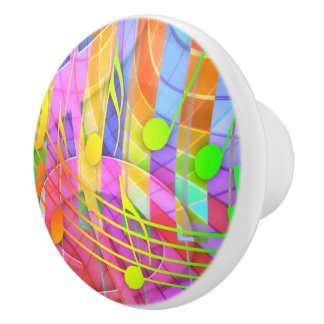 Groovy Musical Abstract Ceramic Knob