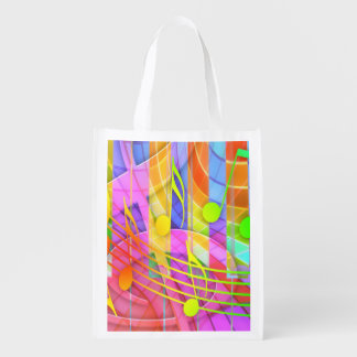Groovy Musical Abstract Reusable Grocery Bag