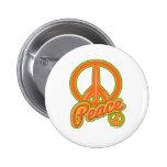 Groovy Orange Peace Sign Pinback Button