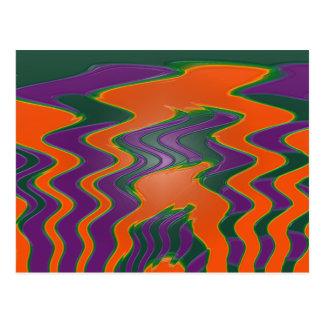 groovy orange purple postcard