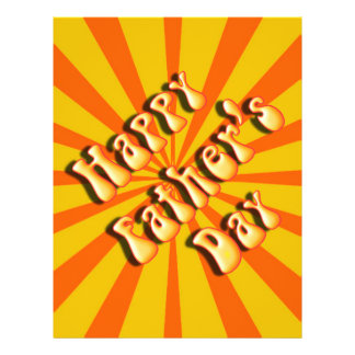 Groovy Orange Retro For Father's Day Flyers