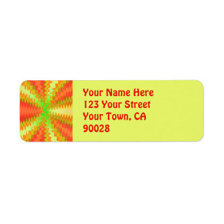 groovy orange yellow return address label