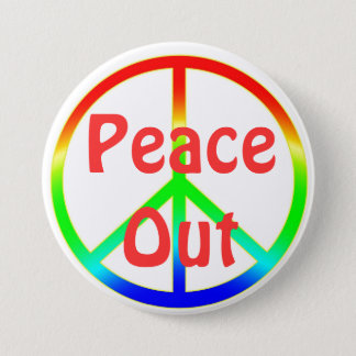 Groovy Peace Out Sign Button Pin