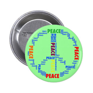Groovy Peace Sign In Words Button Pin