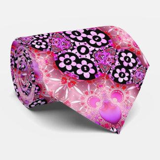 Groovy Pink and Black Fractal Tie