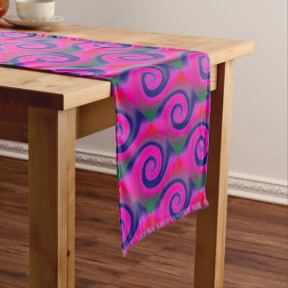 Groovy Pink Blue Swirl Abstract Long Table Runner