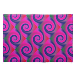Groovy Pink Blue Swirl Abstract Placemat