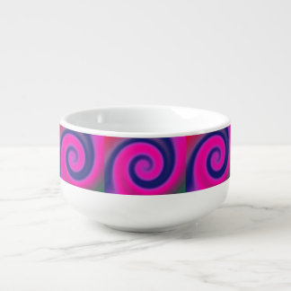 Groovy Pink Blue Swirl Abstract Soup Mug