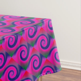 Groovy Pink Blue Swirl Abstract Tablecloth