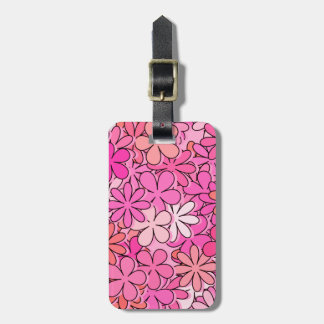Groovy Pink Flowers Luggage Tag