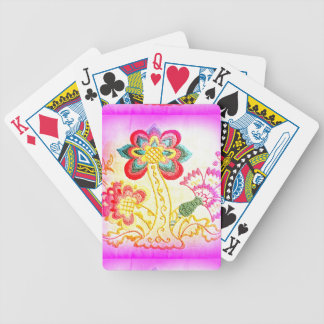 groovy pink palm tree playing cards