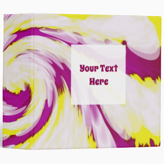 Groovy Pink Yellow White Tie Dye Swirl Abstract 3 Ring Binder