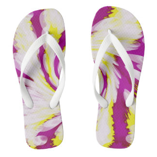 Groovy Pink Yellow White Tie Dye Swirl Abstract Flip Flops