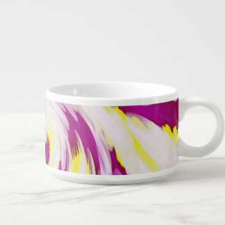 Groovy Pink Yellow White TieDye Swirl Abstract Bowl