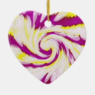 Groovy Pink Yellow White TieDye Swirl Abstract Ceramic Ornament
