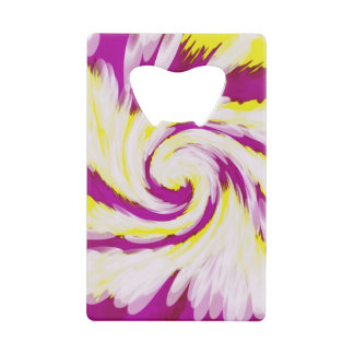 Groovy Pink Yellow White TieDye Swirl Abstract Credit Card Bottle Opener