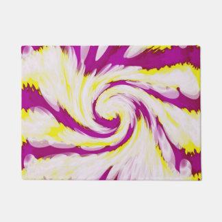 Groovy Pink Yellow White TieDye Swirl Abstract Doormat