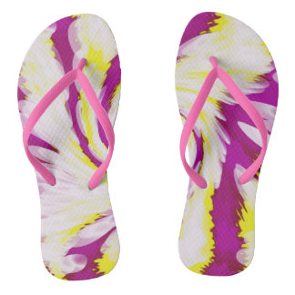 Groovy Pink Yellow White TieDye Swirl Abstract Flip Flops
