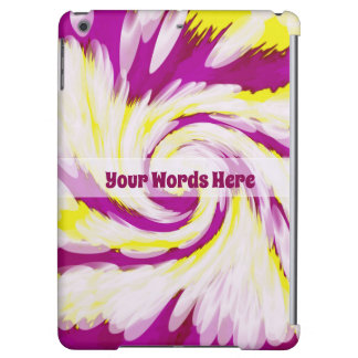 Groovy Pink Yellow White TieDye Swirl Abstract iPad Air Covers