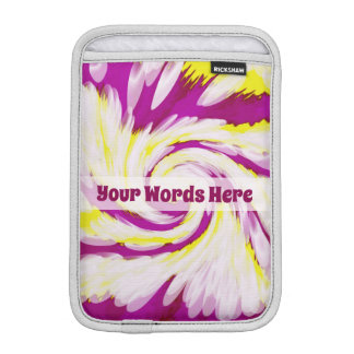 Groovy Pink Yellow White TieDye Swirl Abstract iPad Mini Sleeve