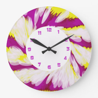 Groovy Pink Yellow White TieDye Swirl Abstract Large Clock