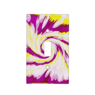 Groovy Pink Yellow White TieDye Swirl Abstract Light Switch Cover