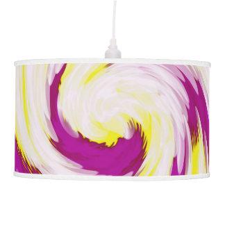 Groovy Pink Yellow White TieDye Swirl Abstract Pendant Lamp