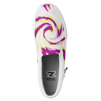 Groovy Pink Yellow White TieDye Swirl Abstract Slip-On Sneakers