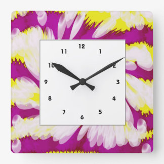 Groovy Pink Yellow White TieDye Swirl Abstract Square Wall Clock