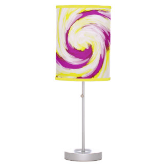 Groovy Pink Yellow White TieDye Swirl Abstract Table Lamp