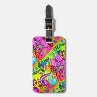 groovy psychedelic hippie colors luggage tag