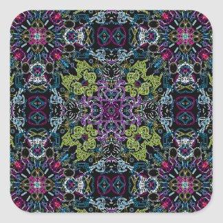 groovy psychedelic square sticker