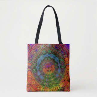 Groovy psychedelic tote bag