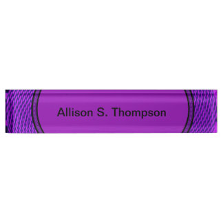 Groovy purple abstract name plate